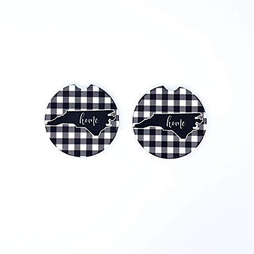 (State Silhouette Car Coasters Sandstone Personalized Black & White Plaid (Set of 2))