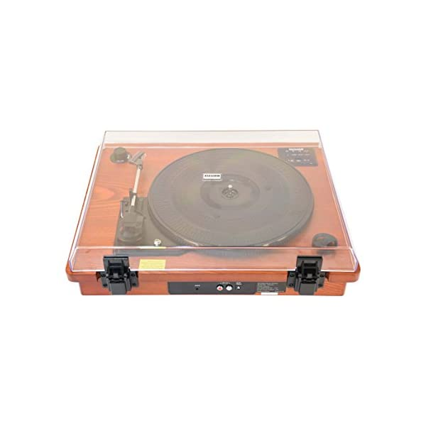 HOFEINZ Vintage Style Natural Wood Belt Driven Turntable with 3 Speed Built in Stereo Speakers, Bluetooth and Vinyl-to… 5
