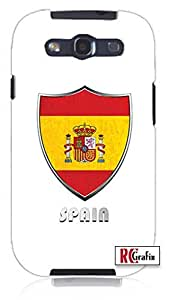 Premium National Spain Flag Badge Direct UV Printed Unique Quality Rubber Soft TPU Case for Samsung Galaxy S3 SIII i9300 (WHITE)