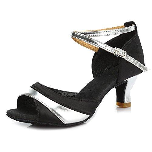 Plateado HIPPOSEUS de Zapatos Mujeres el Latinos Baile de Modelo de Baile Zapatos 5CM Satén Salón de de La Danza ES806 Zapatos 11fxqRrwO