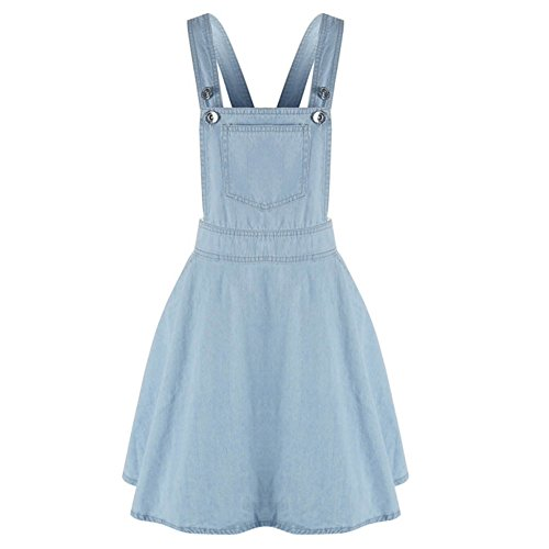 Fedi Apparel Women Pocket Side Denim Button Suspender Skirt Strap Overall Dress