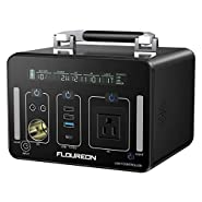 floureon 500Wh /140400mAh Portable Power Station Generator Power Supply Solar with 110V AC Outlet, Type C, QC3.0, 12V/24V DC Output, LED Flashlight, Charged by Solar Panel/Wall Outlet/Car Charger