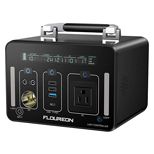 (floureon 500Wh /140400mAh Portable Power Station Generator Power Supply Solar with 110V AC Outlet, Type C, QC3.0, 12V/24V DC Output, LED Flashlight, Charged by Solar Panel/Wall Outlet/Car Charger)
