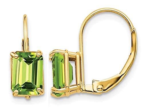 14K Yellow Gold 7x5mm Emerald Cut Peridot Leverback Earrings 2.00 Carat ()