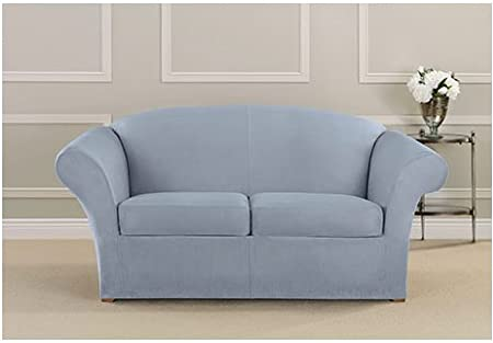 amazoncom surefit 3 peices heavyweight stretch suede loveseat cover pacific blue home u0026 kitchen