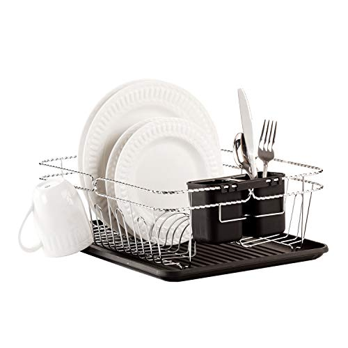 (Kitchen Details 3 Piece Countertop Twisted Chrome Dish Drying Rack with Cutlery Basket and Drainboard Tray, Black Black)