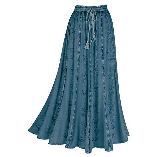 CATALOG CLASSICS Women's Over-Dyed Maxi Skirt - Elastic Waistband 36