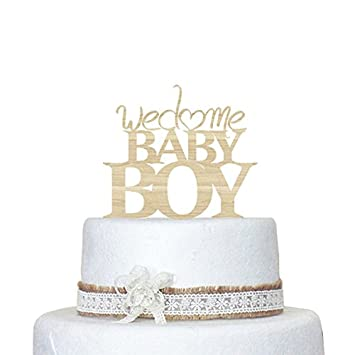 Wonderful Welcome Baby Boy Rustic Cake Toppers Birthday Baby Shower Cake Topper Wood  For Boy