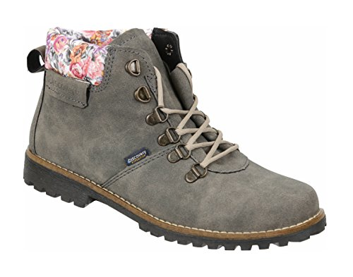 Discovery Expedition Womens Ankle High Outdoor Boot w/Fashion Patterened Trim Gun Metal