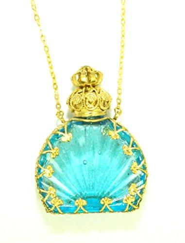Czech Jewelled Decorative Blue Perfume Oil Bottle Holder Necklace/pendant