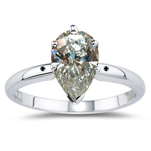 RINGJEWEL 1.24 ct VVS1 Pear Moissanite Solitaire Engagement Silver Plated Ring Off White Color Size 7