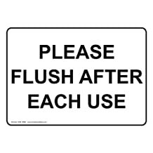 ComplianceSigns Vinyl Restroom Etiquette Label, 10 x 7 in. with English, White