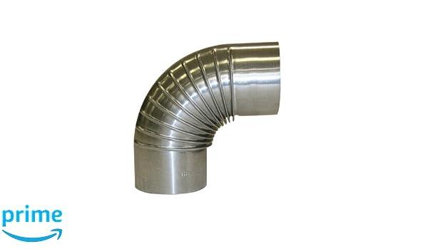 Kamino - Flam - Codo para chimenea de leña y estufa de leña, Codo vitrificado, Codo de escape - resistente a altas temperaturas - Plata, Ø 120 mm/ángulo ...