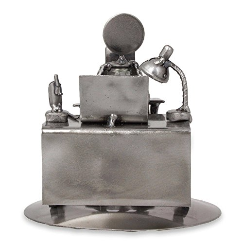 NOVICA Metallic Decorative Recycled Metal Sculpture, 5.5'' Tall, Hard-Working Executive' by NOVICA