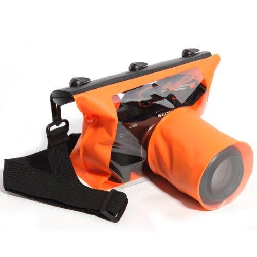 Tteoobl 65 Feets Waterproof Case SLR/DSLR Camera Waterproof Underwater Bag Pouch Dry Bag For Canon Nikon Fuji Pentax Samsung SONY(Orange,M) ()