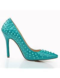 Shoemaker'S Heart New High-Heeled Shoes Rivet Shoes Summer Pointed Ladies High Heels Green