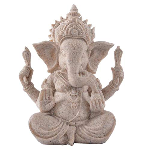 JDSHSO Fengshui Buddha Sculpture Sandstone Indian Ganesha Elephant Head God Statue Home Decor 4 Arms God of - 4 Zoo Piece Wall Hanging