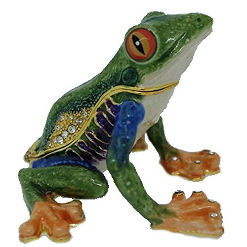 (Home and Holiday Shops Green Tree Frog Bejeweled Enamel Jewelry Trinket Keepsake Box Container New)