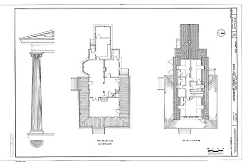 Historic Pictoric Blueprint Diagram First Floor Plan, Second Floor Plan - Herzberg Family Cottage, 8 Broadway, Cape May, Cape May County, NJ 44in x 30in
