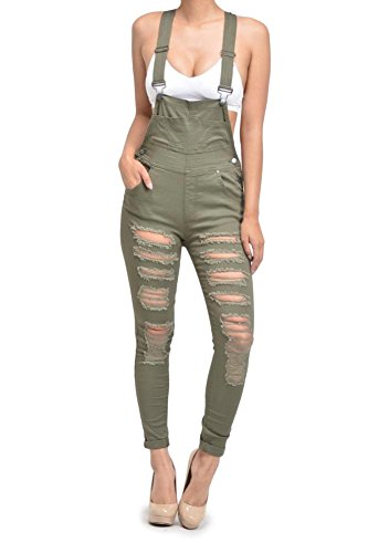 Spandex Overalls (G-Style USA Women's Destroyed Skinny Overalls RJHO424 - Olive - Small - C7C)