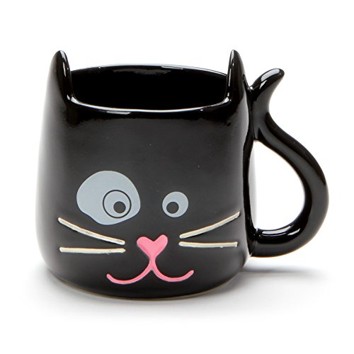 (Enesco 6001225 Our Name is Mud Outside The Litter Box Sculpted Cat, 12 Ounce, Black Stoneware Mug,)
