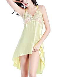 Vilania Women Nightgown Sexy Satin Lace Sling Dress Sleepwear Chemise V-string