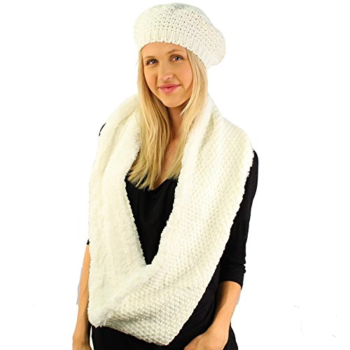 Winter 2pc Set Beret Soft Faux Fur Knit Warm Loop Infinity Cowl Hat Scarf ()