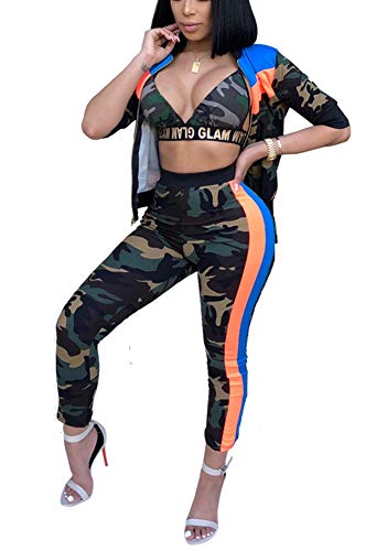 (Women Matching Set Sweatsuit - Camouflage Zip Up Jacket Sports Bra Pants Jogging Suit Outfits)