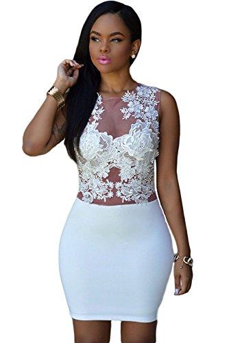 shelovesclothing Damen Schlauch Kleid weiß White Cream Nude 34 36 38