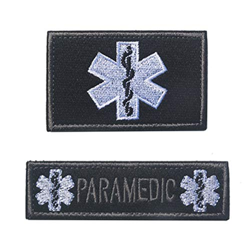 Emblem Applique - Jinxuny Embroidered Applique On Sew On Patch 2pcs Paramedic Embroidered Patch International Rescue Morale Patch Tactical Applique Emblem Badges Embroidery Patches 85CM (Color : Black)