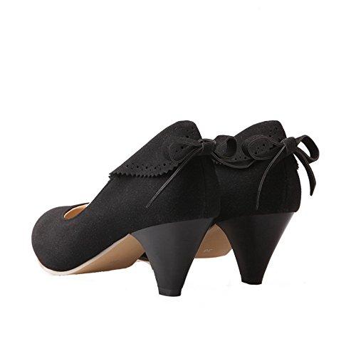 Ballet Donna Shoes Flats Medio Tirare AgeeMi da Nero Tacco Suede AHRxqw0n4