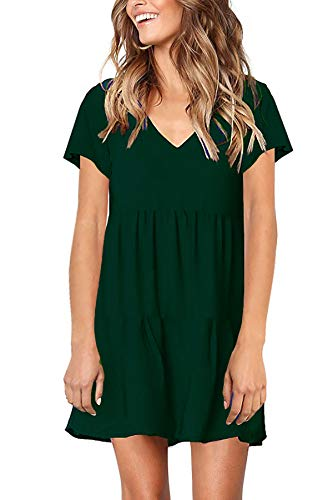 Stylelachic Women's Summer Short Sleeve Tunic Swing Dress V Neck Pleated Loose Mini Dress Casual Flowy Shift Dresses -Dark Green XXL