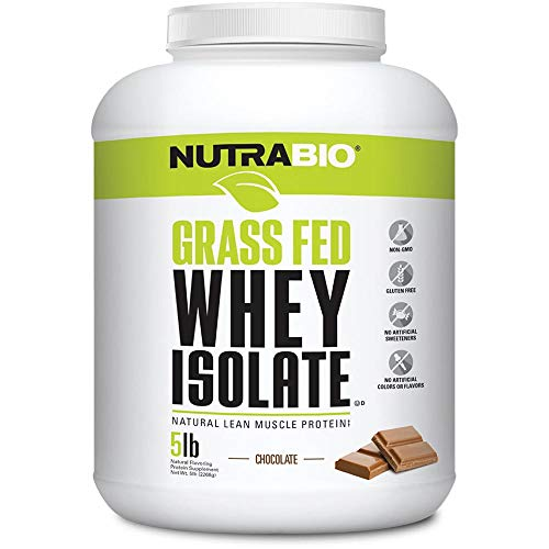 NutraBio Grass Fed Whey Isolate (Chocolate, 5 Pounds)