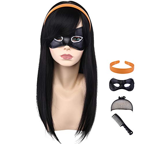 CAMTOP Kids Long Straight Natural Anime Cosplay Wig Halloween Costume Party Wig with Headband and Eye Mask, Black