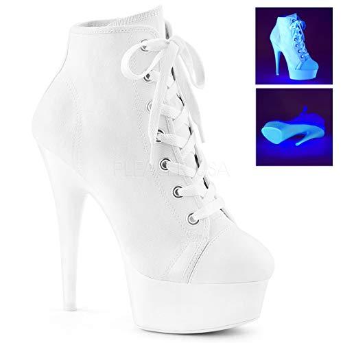 Pleaser Women's DELIGHT-600SK-02 Sandal, Canvas/neon White, 8 M US ()