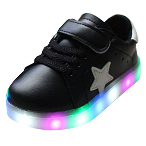 Highdas Cuero Niño Niña Prewalker Light Up Zapatos Black