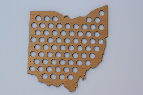 All 50 States Beer Cap Maps - Ohio Beer Cap Map OH - Glossy Wood - Skyline Workshop by Skyline Workshop