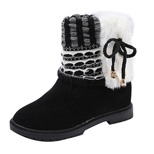 Honestyi Women Boots Women's Boots Winter Boots Warm Ankle Boots Warm Winter Shoes, PU Leather, Rubber Black
