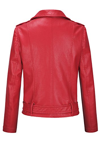 Biker Revers Fit Veste De Rouge Moto Courte Cuir Slim Classique Col Veste en Femme xwXHqCx