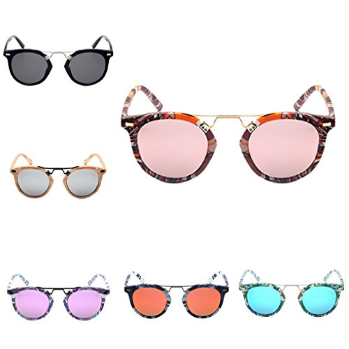 lidahaotin plastique rondes cadre en de 5 en extérieur de UV400 lunettes Fille lentille en Lunettes Lunettes résine en métal Protection forme soleil Femmes Hommes r8wnTqUx4r