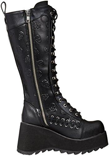 107 Scene Demonia Boot Leather Vegan Black High Women's Knee zwqA75pq