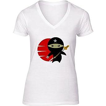 Camiseta Blanca con V-Cuello para Mujer - Tamaño XL ...