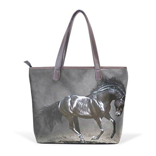 mango COOSUN de cm caballo de de de Multicolor gran 003 Bolsa Negro mano de de cuero 33x45x13 PU L hombro bolsa asas wqqrnxgFIS