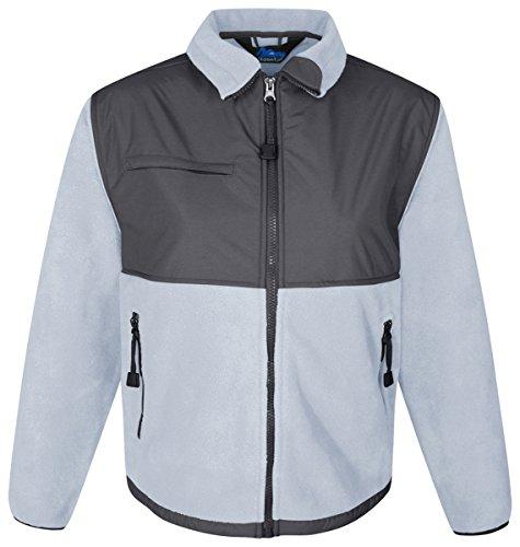 Tri-mountain Womens panda fleece jacket with nylon paneling. 7420 - PALE BLUE/GRAY_XL