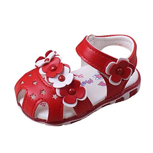 Hunpta Baby Sandalen Casual Blumen Schuhe Sneaker Anti-Rutsch Soft Sole Kleinkind Rot