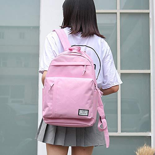 Bag Shoulder Color Women Tote Pink Students Fashion Solid Backpack Bag Canvas School Iw8qCxnHX