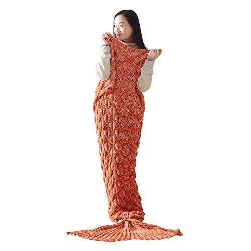XILIUHU Cola de pez Sirena Manta Saco de Dormir Dormir de Hilados artesanales Tejidas Crochet Manta Kids Throw All Seasons Envoltura de Cama Mantas Tejidas,O afa7c0