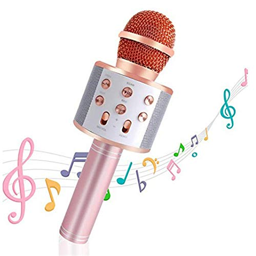 Handheld Bluetooth Wireless Karaoke Microphone Portable Karaoke Player with Speaker for Smartphones and PCs Home KTV Music Playing Machine Wireless Bluetooth Karaoke Microphone ( Color : Rose Gold ) by Xiuzhifuxie (Image #3)
