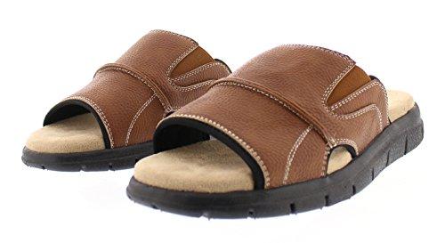 Gold Toe Hombres Russell Open Toe Fisherman Sandalia Deslizante Casual Memory Foam Comfort Slip En Los Planos Zapatos Tan