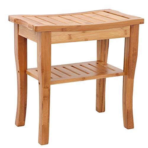 Smartxchoices Bamboo Shower Seat Bench Bathroom Spa Bath Organizer Stool Seating Chair with Underneath Storage Shelf by Smartxchoices